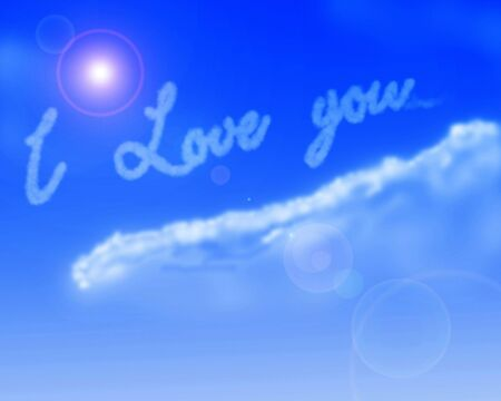 air kiss: I love you written in the sky on a blue background Stock Photo