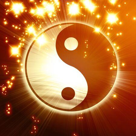 ying yang sign on an orange background photo