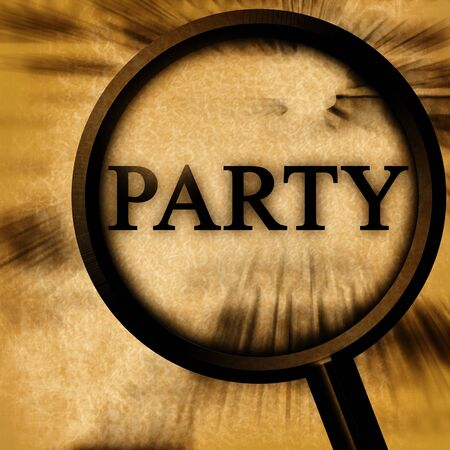 party on a grunge background with a magnifier Stock Photo - 3964595