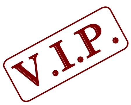 red vip stamp on a white background