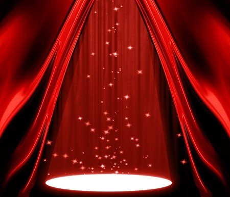 movie or theatre curtain with a spotlight Stock Photo