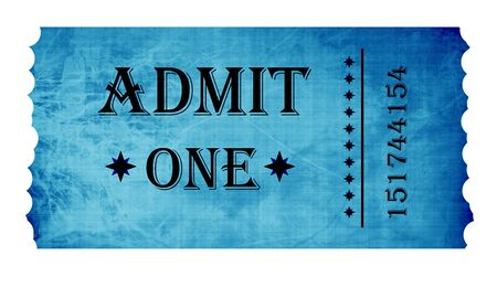 entry admission: Isolated admit one ticket on a white background Stock Photo