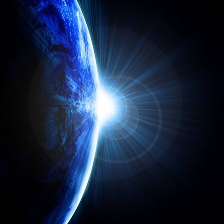 Earth as seen from outer space with sunrise Stock Photo - 4048350