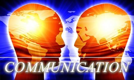 Global communication on a dark blue background photo