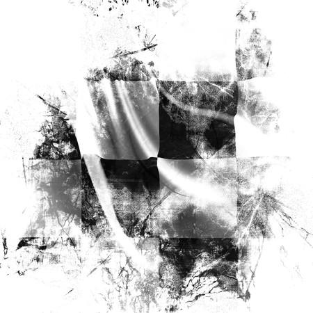 cuadros blanco y negro: Bandera con algunos da�os en el mismo