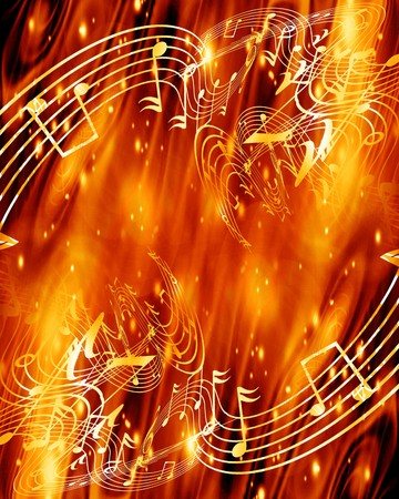 fire show: abstract flowing fire with integrated music notes Stock Photo