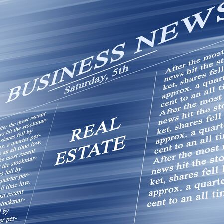 housing search: Real estate in the paper on a soft blue background Stock Photo
