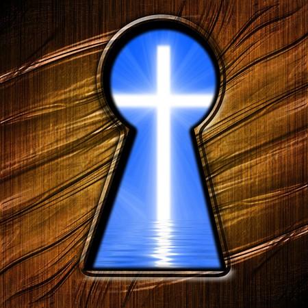llave de sol: clave agujero mirando en una cruz