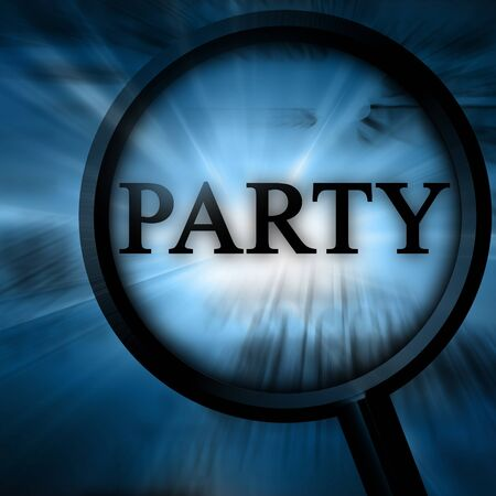 party on a blue background with a magnifier Stock Photo - 4048579