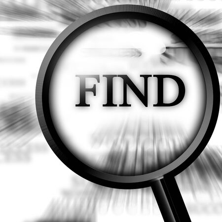 find in the newspaper with a magnifier on top Stock Photo - 4048586