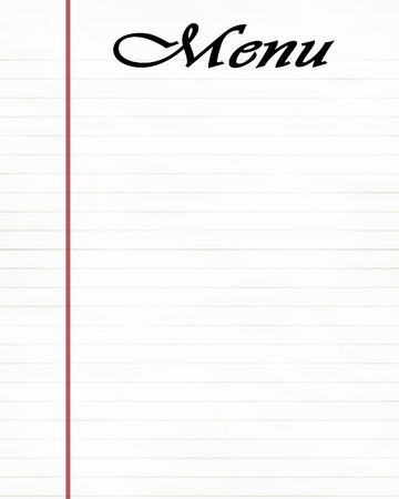 striped office paper with menu written on it Stock Photo - 4048664
