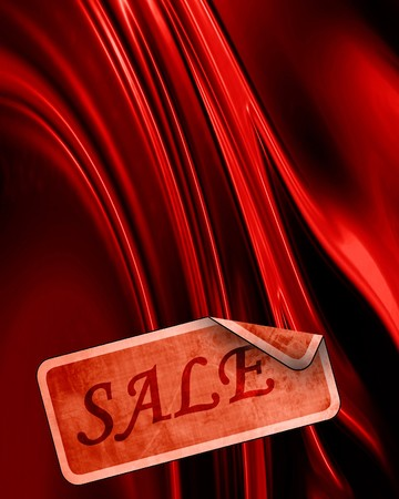 red satin with a sales tag on it photo