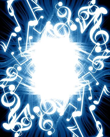music notes on a dark blue background Stock Photo - 4048726