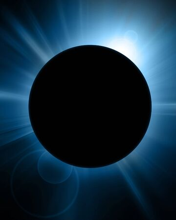 protuberances: solar eclipse on a dark blue background Stock Photo