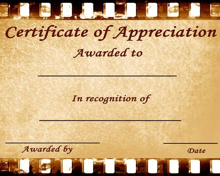 certificate of appreciation with some stains on it Stock Photo