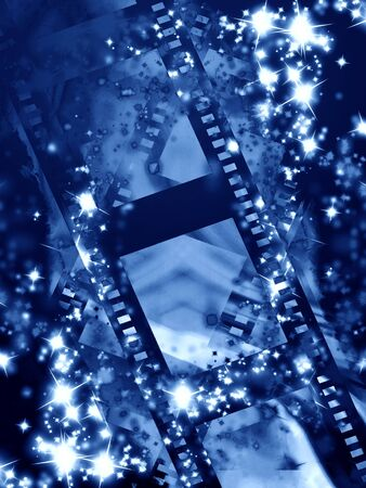 hollywood christmas: film strip with sparkles and glitters on it Stock Photo