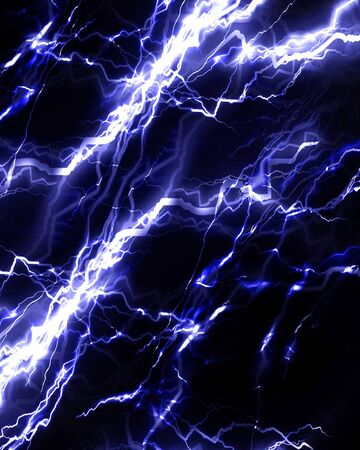 electrocute: Intense lightning storm or electricity on a dark background Stock Photo