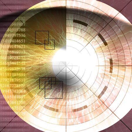 retina scan: eye being scanned on a dark purple background Stock Photo