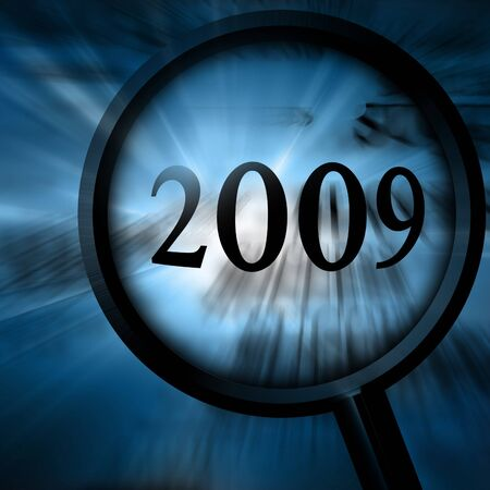 2009 on a blue background with a magnifier Stock Photo - 4079431