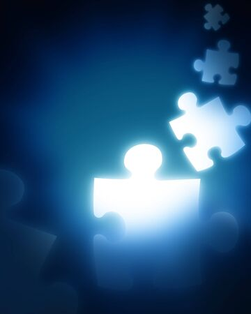 puzzle pieces on a dark blue background Stock Photo - 4079390
