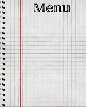 notebook with white paper and menu written on it Stock Photo - 4079422