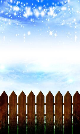 wooden fence and a blue sky with clouds and glitters photo