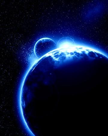 earthlike: Alien planet with moon on a dark background