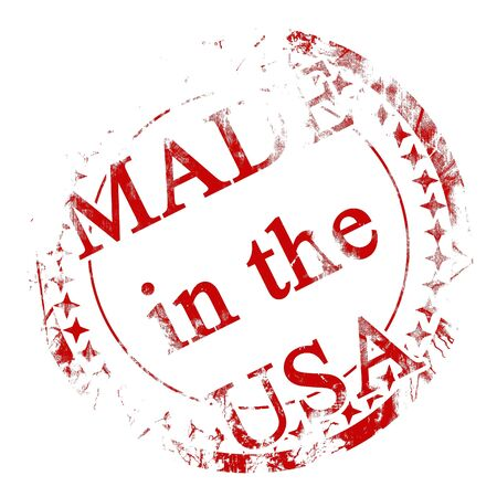 made in usa: red postal stamp on a solid white background