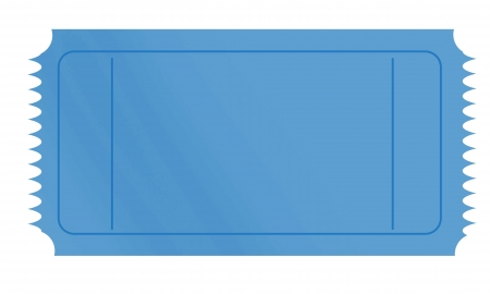 admit one: blank blue ticket on a white background