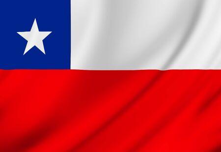 chilean flag: Bandera chilena ondeando en el viento