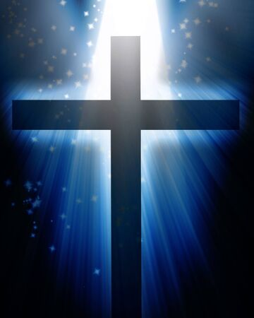 glowing: Cross on a dark blue background with glitters Stock Photo