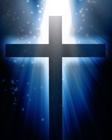crucified: Cruz sobre un fondo azul oscuro con reluce Foto de archivo