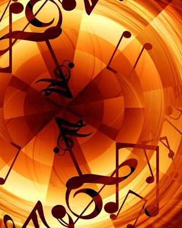 note pc: Abstract musical background with music notes in it Stock Photo