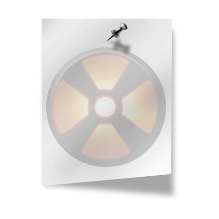 fallout: nuclear sign on memo on a white background