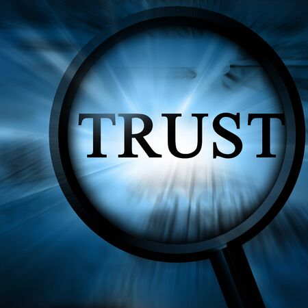 trust on a blue background with a magnifier Stock Photo - 4147058