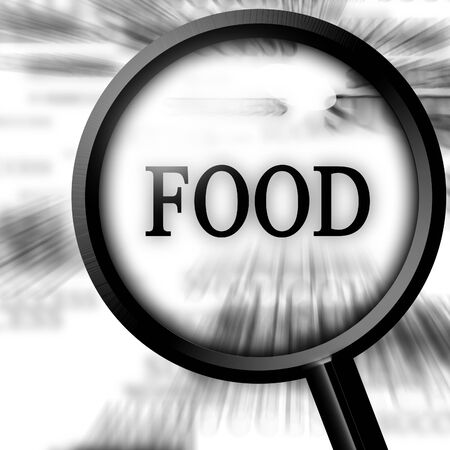 cheff: food in the paper with a magnifier Stock Photo