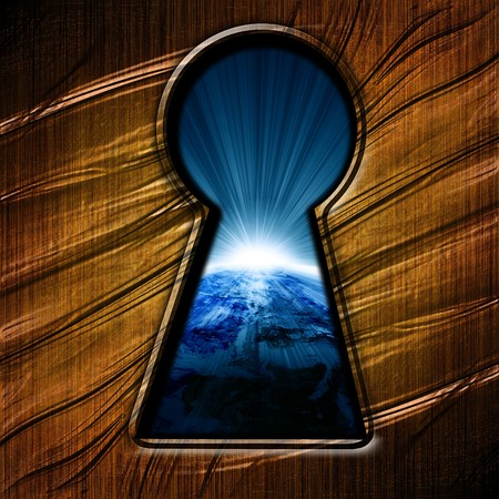 key hole with an outlook on planet earth photo