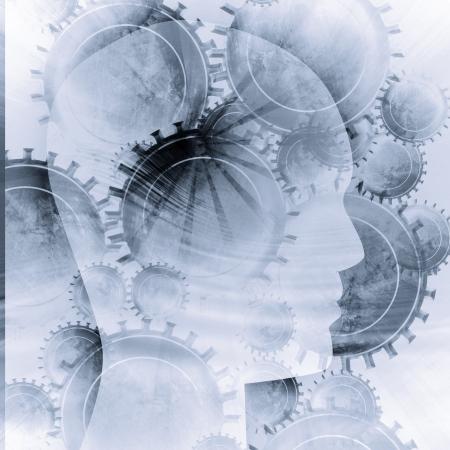 psicologia: Silueta de cabeza humana con enfoque en el cerebro