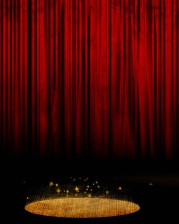 act: Movie or theater curtain with some glitters Stock Photo