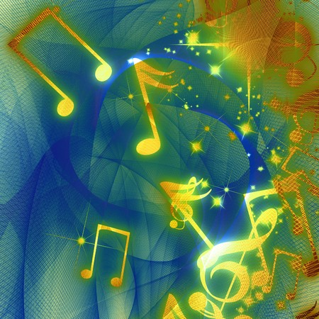 pc tune: musical notes on a background in different colours