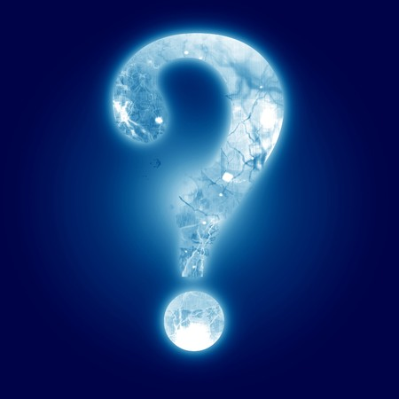 finding: question mark on a dark blue background Stock Photo