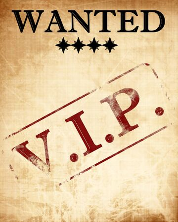 notability: wanted paper with a vip stamp on it Stock Photo