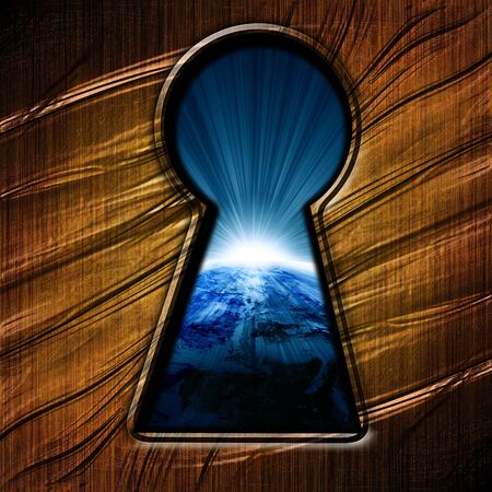 view through door: key hole with an outlook on planet earth