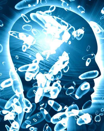 enlarged: Allargata batteri illustrazione su sfondo blu