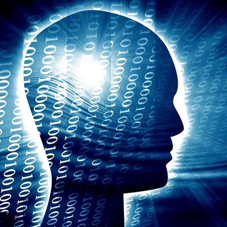 compute: Human head silhouette with focus on the brain Stock Photo