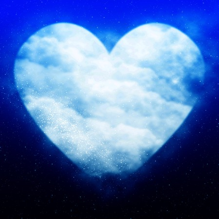 soul mate: Heart shaped moon in a soft blue sky