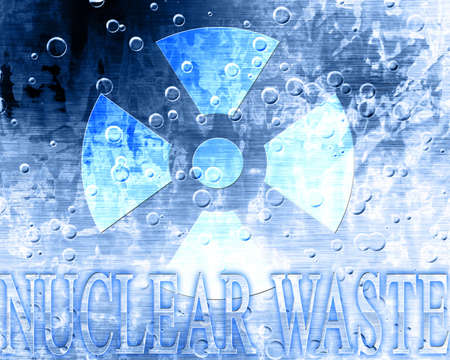 nuclear waste: nuclear waste sign on an old metal plate