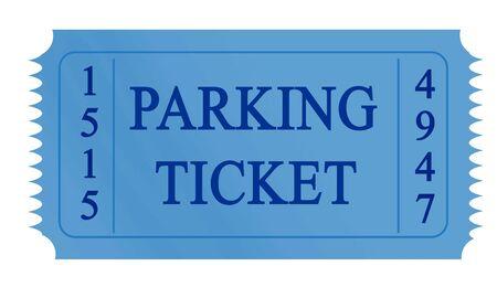 parking ticket: blue parking ticket on a white background