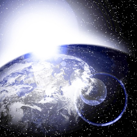 Earth view as seen from outer space with sunlight on it Stock Photo - 4385634