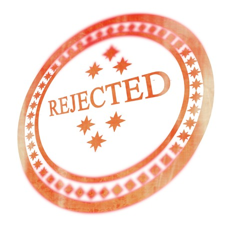 rejecting: Red rejected stamp on a white background